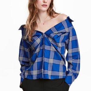 Blue Plaid Flannel Off Shoulder Button Blouse